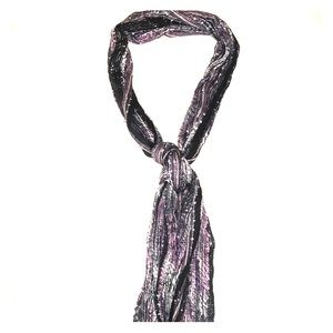 Black/Purple/Silver Scarf with Fringe